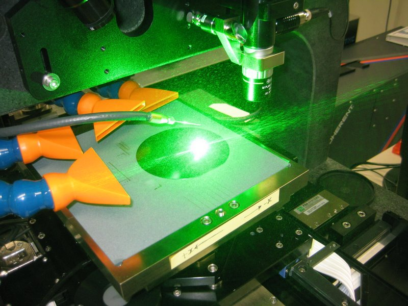 Laser doping using 532nm DPSS laser and 'dry' optics.
