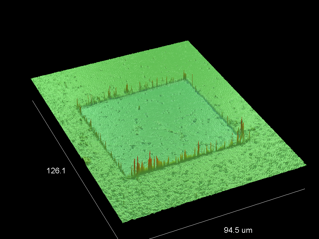 3-dimensional depth profile produced using a high-resolution optical profilometer.